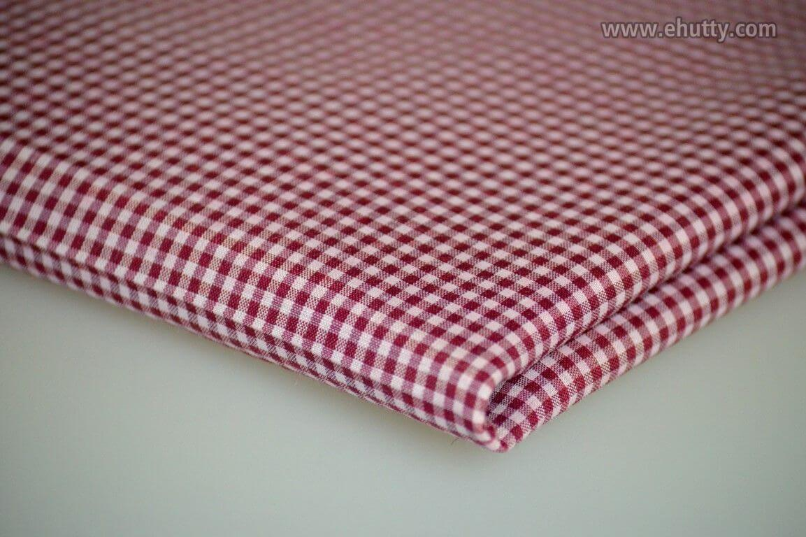 Mini Red White Cotton and Polyester Check
